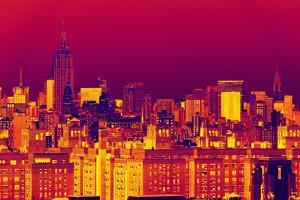 Manhattan Cityscapes - Pop Art skyline - New York - United States by Philippe Hugonnard