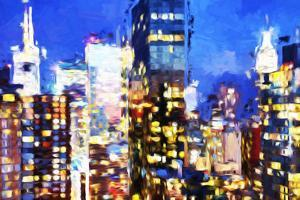 Manhattan Night VIII - In the Style of Oil Painting by Philippe Hugonnard