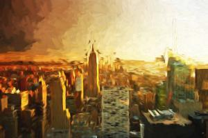 Manhattan Sunset II - In the Style of Oil Painting by Philippe Hugonnard