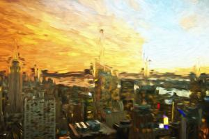 Manhattan Sunset III - In the Style of Oil Painting by Philippe Hugonnard