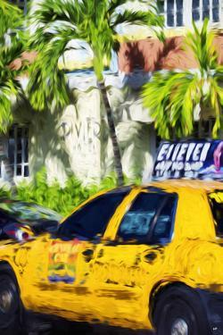 Miami Yellow Cab - In the Style of Oil Painting by Philippe Hugonnard
