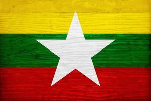 Myanmar Flag Design with Wood Patterning - Flags of the World Series by Philippe Hugonnard