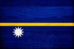 Nauru Flag Design with Wood Patterning - Flags of the World Series by Philippe Hugonnard