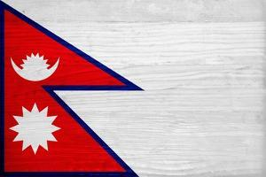 Nepal Flag Design with Wood Patterning - Flags of the World Series by Philippe Hugonnard