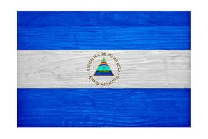 Nicaragua Flag Design with Wood Patterning - Flags of the World Series by Philippe Hugonnard