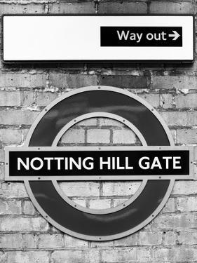 Notting Hill Gate Sign - Subway Station Sign - London - UK - England - United Kingdom - Europe by Philippe Hugonnard
