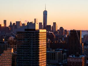 NYC Cityscape with the One World Trade Center (1WTC) at Sunset by Philippe Hugonnard