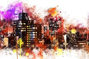 NYC Watercolor Collection - Black night on Manhattan by Philippe Hugonnard