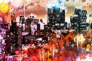 NYC Watercolor Collection - Black Skyscrapers by Philippe Hugonnard