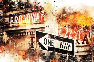 NYC Watercolor Collection - Broadway One Way by Philippe Hugonnard