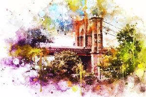 NYC Watercolor Collection - Brooklyn Bridge by Philippe Hugonnard