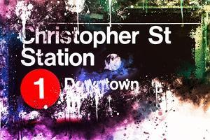 NYC Watercolor Collection - Christopher St Station by Philippe Hugonnard