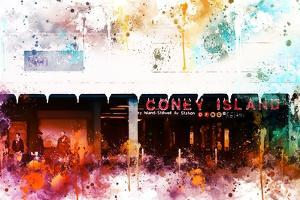 NYC Watercolor Collection - Coney Island Station by Philippe Hugonnard