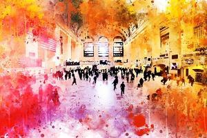 NYC Watercolor Collection - Grand Central Station by Philippe Hugonnard
