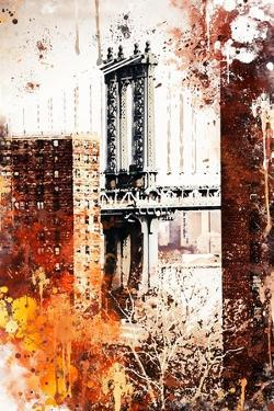NYC Watercolor Collection - Manhattan Bridge by Philippe Hugonnard