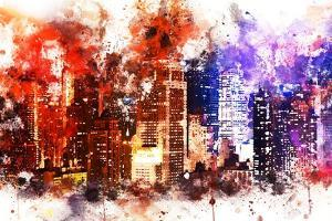 NYC Watercolor Collection - Manhattan by Night by Philippe Hugonnard