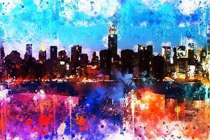 NYC Watercolor Collection - Manhattan Colors Sunset by Philippe Hugonnard