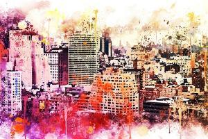 NYC Watercolor Collection - Manhattan District by Philippe Hugonnard