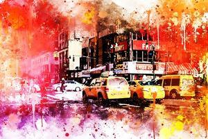 NYC Watercolor Collection - Manhattan Taxis by Philippe Hugonnard