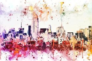 NYC Watercolor Collection - Manhattan View II by Philippe Hugonnard