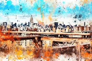NYC Watercolor Collection - Manhattan View III by Philippe Hugonnard