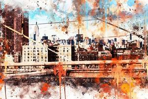 NYC Watercolor Collection - Manhattan View by Philippe Hugonnard