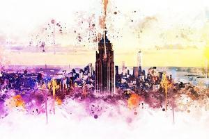 NYC Watercolor Collection - New York Skyline by Philippe Hugonnard