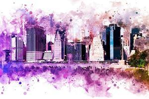 NYC Watercolor Collection - Purple Skyline by Philippe Hugonnard