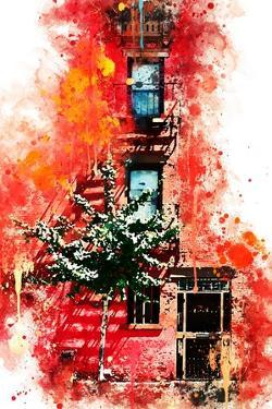 NYC Watercolor Collection - Red Facade by Philippe Hugonnard