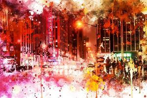 NYC Watercolor Collection - Red Night by Philippe Hugonnard