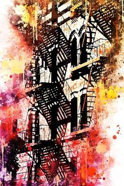 NYC Watercolor Collection - Stairs Shadows by Philippe Hugonnard