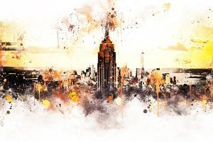NYC Watercolor Collection - Sunset Skyline by Philippe Hugonnard