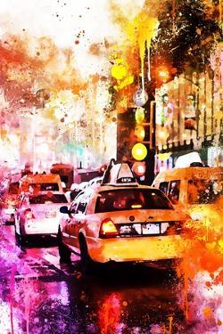 NYC Watercolor Collection - Taxis Night by Philippe Hugonnard