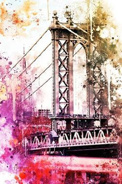 NYC Watercolor Collection - The Manhattan Bridge II by Philippe Hugonnard