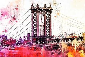 NYC Watercolor Collection - The Manhattan Bridge III by Philippe Hugonnard