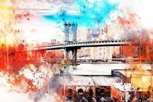 NYC Watercolor Collection - The Manhattan Bridge IV by Philippe Hugonnard