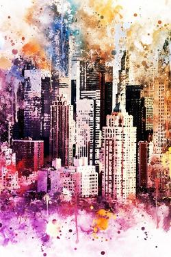 NYC Watercolor Collection - Times Square Skyscrapers by Philippe Hugonnard