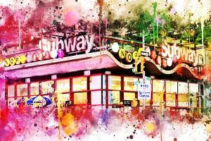 NYC Watercolor Collection - Times Square Subway by Philippe Hugonnard
