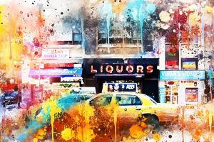 NYC Watercolor Collection - Urban Taxi by Philippe Hugonnard