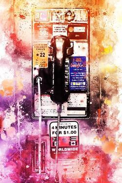NYC Watercolor Collection - US Public Phone by Philippe Hugonnard