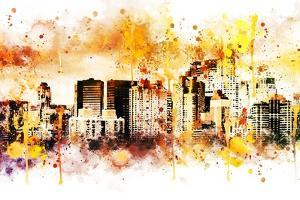 NYC Watercolor Collection - Yellow Skyline by Philippe Hugonnard