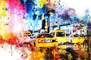 NYC Watercolor Collection - Yellow Taxis by Philippe Hugonnard