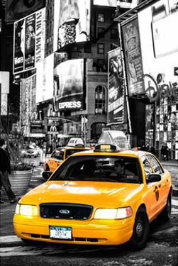 NYC Yellow Taxis / Cabs in Times Square by Night - Manhattan - New York by Philippe Hugonnard