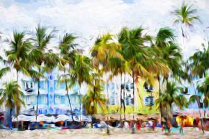 Ocean Drive Beach II - In the Style of Oil Painting by Philippe Hugonnard