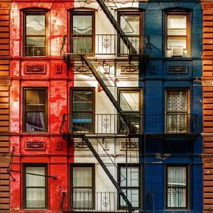 Old Building Facade in the Colors of the American Flag in Times Square - Manhattan - NYC by Philippe Hugonnard
