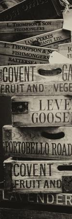 Old Wooden Crates used on Markets in London - Portobello Road Market - Notting Hill - Door Poster