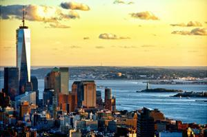 One World Trade Center (1WTC) at Sunset, Hudson River and Statue of Liberty View, Manhattan, NYC by Philippe Hugonnard