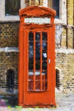 Orange Phone Booth - In the Style of Oil Painting by Philippe Hugonnard