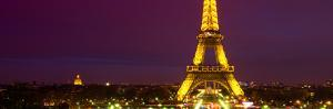 Panoramic Cityscape Paris with Eiffel Tower at Night by Philippe Hugonnard