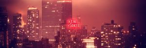 Panoramic Landscape Foggy Red Night in Manhattan with the New Yorker Hotel View by Philippe Hugonnard